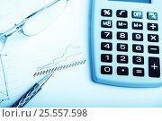 Купить «Finance report wiht calculator and pen», фото № 25557598, снято 30 сентября 2015 г. (c) Валерия Потапова / Фотобанк Лори