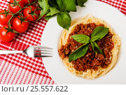 Pasta with meat, tomato sauce and vegetables. Стоковое фото, фотограф Валерия Лузина / Фотобанк Лори