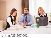 Photo of female applicant during job interview. Стоковое фото, фотограф VictorStudio / Фотобанк Лори