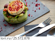 Купить «goat cheese salad with vegetables at restaurant», фото № 25572878, снято 22 сентября 2016 г. (c) Syda Productions / Фотобанк Лори