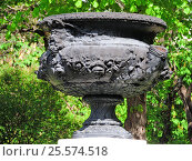 Купить «Центральный парк культуры и отдыха им. М. Горькогo. Старая ваза на постаменте в центре цветочной клумбы», эксклюзивное фото № 25574518, снято 14 мая 2015 г. (c) lana1501 / Фотобанк Лори