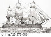 Amiral Duperre, 11,100 ton battleship of French navy launched 1879. From The National Encyclopaedia published by William Mackenzie London late 19th century. Редакционное фото, фотограф Classic Vision / age Fotostock / Фотобанк Лори