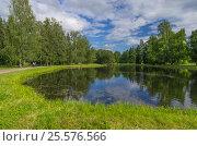 Красивый пруд в парке, фото № 25576566, снято 9 июля 2016 г. (c) Megapixx / Фотобанк Лори