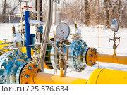 Купить «Манометр, установленный на газовой трубе», фото № 25576634, снято 30 января 2017 г. (c) Игорь Дашко / Фотобанк Лори