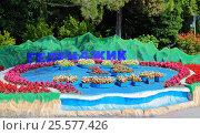Купить «Клумба в виде объёмной модели Геленджикской бухты в городе Геленджик», фото № 25577426, снято 13 июня 2016 г. (c) Артём Крылов / Фотобанк Лори