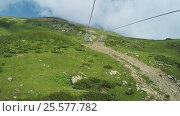 Купить «Lifts in mountains in summer», видеоролик № 25577782, снято 3 апреля 2016 г. (c) Потийко Сергей / Фотобанк Лори