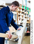 Купить «Man processing plank at workshop», фото № 25583010, снято 7 ноября 2016 г. (c) Яков Филимонов / Фотобанк Лори