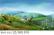 Купить «Deer in the Hills», иллюстрация № 25589910 (c) Sergii Zarev / Фотобанк Лори