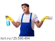 Купить «Man with cleaning agents isolated on white background», фото № 25590494, снято 31 октября 2016 г. (c) Elnur / Фотобанк Лори