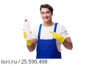 Купить «Man with cleaning agents isolated on white background», фото № 25590498, снято 31 октября 2016 г. (c) Elnur / Фотобанк Лори