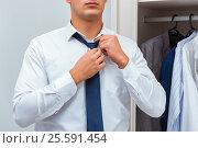 Купить «Businessman dressing up for work», фото № 25591454, снято 11 октября 2016 г. (c) Elnur / Фотобанк Лори