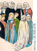 Купить «Women's costumes by Ulrich von Richental, chronicler of the Council of Constance, 15th century.», фото № 25595678, снято 31 января 2017 г. (c) age Fotostock / Фотобанк Лори