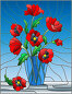 Illustration in stained glass style with bouquets of red poppies flowers in a blue vase on table on a blue background, иллюстрация № 25596362 (c) Наталья Загорий / Фотобанк Лори
