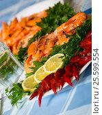 Купить «Delicious Mediterranean seafood shrimps and crawfish close up», фото № 25599554, снято 24 февраля 2020 г. (c) Яков Филимонов / Фотобанк Лори