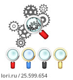 Set of magnifying glasses and mechanism. Стоковая иллюстрация, иллюстратор Silanti / Фотобанк Лори