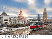 Купить «Трамвай у Казанского вокзала Tram at the Kazansky railway station», фото № 25599826, снято 11 февраля 2017 г. (c) Baturina Yuliya / Фотобанк Лори