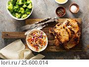 Grilled pork chops with cole slaw salad. Стоковое фото, фотограф Елена Веселова / Фотобанк Лори