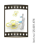 Купить «3d man with drone, quadrocopter, with photo camera. 3d render. 3D render. The film strip», иллюстрация № 25601474 (c) Guru3d / Фотобанк Лори
