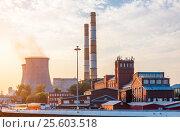 Купить «Old factory with cooling towers», фото № 25603518, снято 23 сентября 2015 г. (c) Юрий Губин / Фотобанк Лори