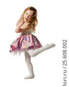 Купить «Трехлетняя девочка шалит, веселится, танцует, прыгает , изолировано на белом фоне», фото № 25608002, снято 30 января 2017 г. (c) Владимир Мельников / Фотобанк Лори