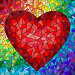 Illustration in stained glass style with red heart on the rainbow in the background, иллюстрация № 25612602 (c) Наталья Загорий / Фотобанк Лори
