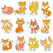 Set of funny colored foxes on a white background isolated, иллюстрация № 25612610 (c) Наталья Загорий / Фотобанк Лори