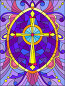 Illustration in stained glass style with a yellow cross on a purple background with patterns and swirls, иллюстрация № 25612614 (c) Наталья Загорий / Фотобанк Лори