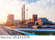 Купить «Old factory with cooling towers», фото № 25613574, снято 23 сентября 2015 г. (c) Юрий Губин / Фотобанк Лори