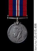 Медаль войны 1939-1945, черный фон, Британия, аверс. Стоковое фото, фотограф Буланов Сергей / Фотобанк Лори