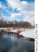 Река Яуза в усадьбе Тайнинское, Мытищи. Зимный пейзаж (2017 год). Стоковое фото, фотограф Борис Сунцов / Фотобанк Лори