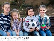 Купить «Portrait of children with ball outdoor», фото № 25617910, снято 22 сентября 2018 г. (c) Яков Филимонов / Фотобанк Лори