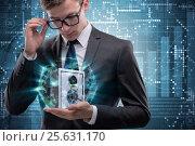 Купить «Businessman in security concept with safe», фото № 25631170, снято 21 марта 2019 г. (c) Elnur / Фотобанк Лори