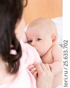 Купить «mother breast feeding and hugging her baby», фото № 25633702, снято 17 февраля 2017 г. (c) Оксана Кузьмина / Фотобанк Лори