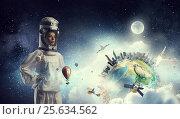 Купить «Dreaming to explore space . Mixed media . Mixed media», фото № 25634562, снято 25 марта 2014 г. (c) Sergey Nivens / Фотобанк Лори