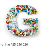Купить «Letter G. Set of alphabet of medicine pills, capsules, tablets and blisters isolated on white.», фото № 25636026, снято 19 июня 2019 г. (c) Maksym Yemelyanov / Фотобанк Лори