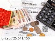 Купить «Квитанции на оплату коммунальных платежей», эксклюзивное фото № 25641150, снято 1 марта 2017 г. (c) Юрий Морозов / Фотобанк Лори