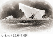 Ship Wrecked on Iceberg. Title illustration from Arctic Explorations in the Years 1853,54,55 by American explorer Doctor Elisha Kent Kane, 1820 to 1857... Редакционное фото, фотограф Classic Vision / age Fotostock / Фотобанк Лори