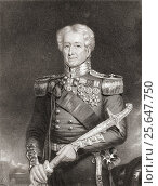 Sir Robert Henry Sale, 1782 to 1845. British soldier. Engraved by F Holl after H Moseley. From the book The National Portrait Gallery Volume III published c1820. Редакционное фото, фотограф Classic Vision / age Fotostock / Фотобанк Лори