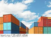 Export import cargo containers bulk in port or harbor 3d illustration. Стоковая иллюстрация, иллюстратор Андрей Кузьмин / Фотобанк Лори