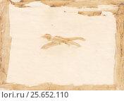 Купить «Оборотная сторона старой фотографии, испачканной засохшим клеем серо-жёлтого цвета», иллюстрация № 25652110 (c) александр афанасьев / Фотобанк Лори