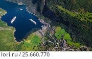Купить «Geiranger fjord, Beautiful Nature Norway Aerial footage.», видеоролик № 25660770, снято 1 марта 2017 г. (c) Андрей Армягов / Фотобанк Лори