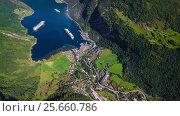 Купить «Geiranger fjord, Beautiful Nature Norway Aerial footage.», видеоролик № 25660786, снято 1 марта 2017 г. (c) Андрей Армягов / Фотобанк Лори