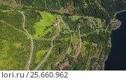 Купить «Serpentine road Geiranger fjord, Norway.», видеоролик № 25660962, снято 2 марта 2017 г. (c) Андрей Армягов / Фотобанк Лори
