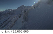Купить «North slope Aibga Ridge of Western Caucasus at Rosa Khutor Alpine Resort stock footage video», видеоролик № 25663666, снято 2 февраля 2017 г. (c) Юлия Машкова / Фотобанк Лори