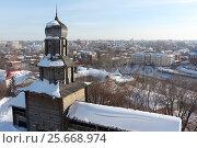 Купить «Спасская башня деревянного кремля с видом на город , г.Томск, Россия», фото № 25668974, снято 25 февраля 2017 г. (c) Наталия Макарова / Фотобанк Лори