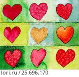 Купить «Aquarelle by Heidrun Füssenhäuser, nine red hearts with gold lettering 'Congratulations'», фото № 25696170, снято 23 марта 2006 г. (c) mauritius images / Фотобанк Лори