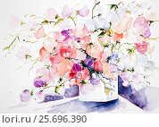 Купить «Watercolor by Waltraud Zizelmann, vetches in square vase,», фото № 25696390, снято 24 февраля 2014 г. (c) mauritius images / Фотобанк Лори