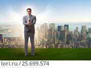 Купить «Angel investor concept with businessman with wings», фото № 25699574, снято 20 августа 2018 г. (c) Elnur / Фотобанк Лори
