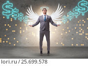 Купить «Angel investor concept with businessman with wings», фото № 25699578, снято 17 ноября 2018 г. (c) Elnur / Фотобанк Лори