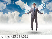 Купить «Angel investor concept with businessman with wings», фото № 25699582, снято 20 августа 2018 г. (c) Elnur / Фотобанк Лори